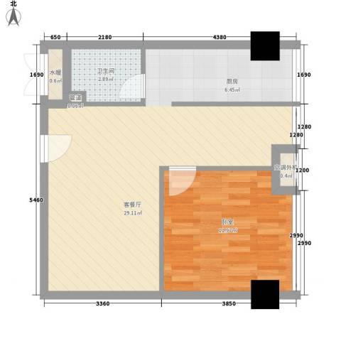 中建小区1厅1卫0厨65.00㎡户型图