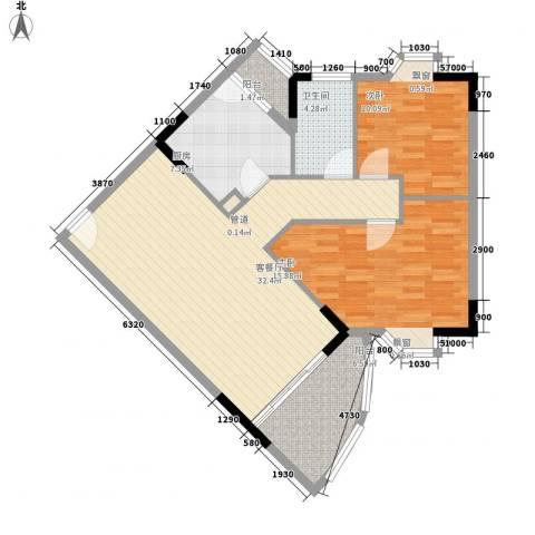 金逸雅居2室1厅1卫1厨110.00㎡户型图