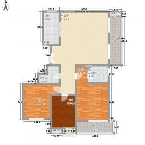曲江中铁建国际城3室1厅2卫1厨144.00㎡户型图