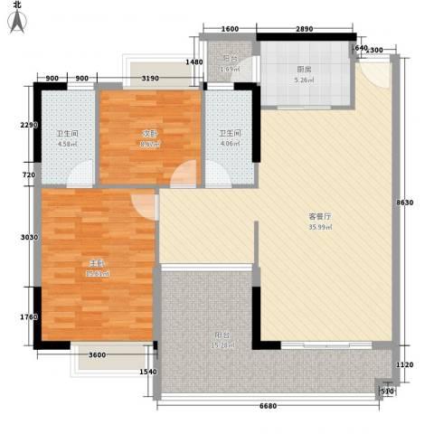 诚丰新园2室1厅2卫1厨102.70㎡户型图