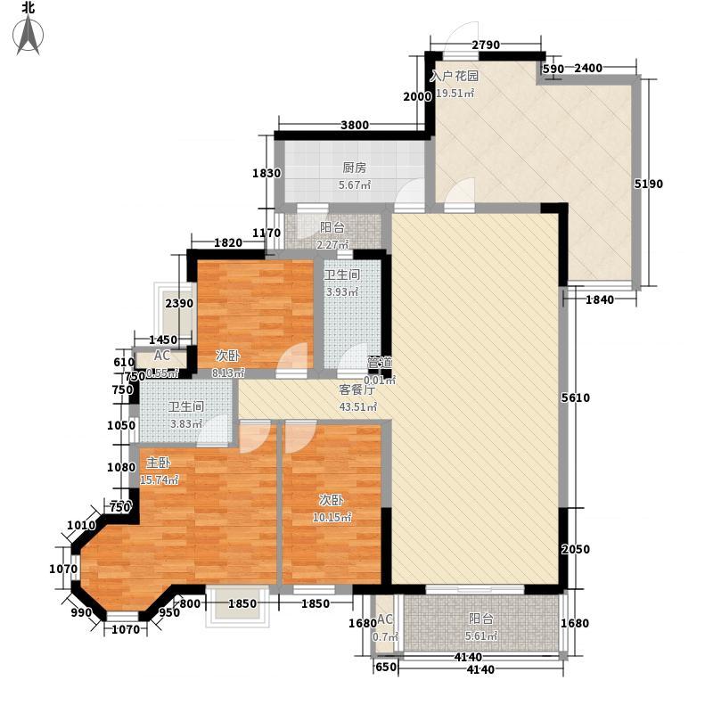 万基金蓝湾132.15㎡C1偶(售罄)户型3室2厅2卫1厨