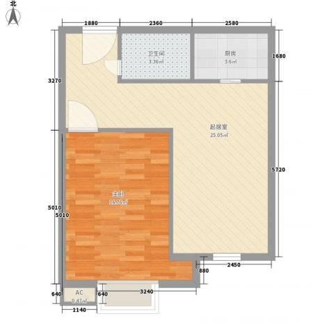 长江花园1室0厅1卫1厨67.00㎡户型图