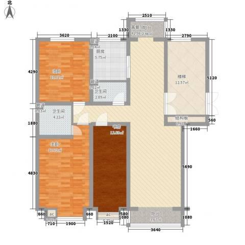 碧龙江畔3室1厅2卫1厨145.00㎡户型图