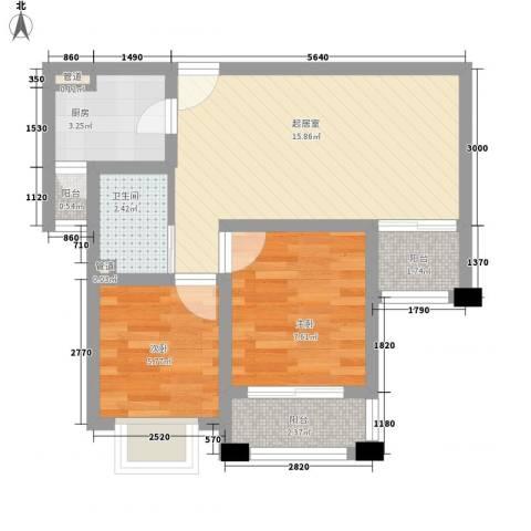 长江花园2室0厅1卫1厨63.00㎡户型图