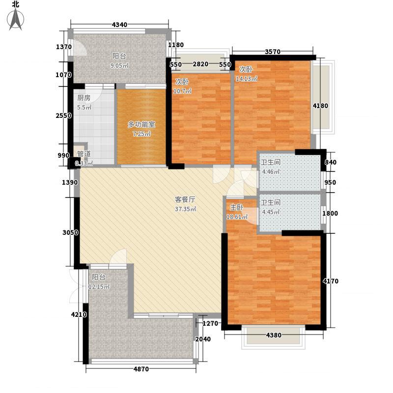 嘉富广场三期174.25㎡东山一品北座3号01户型4室2厅2卫1厨