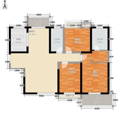 曲江中铁建国际城3室1厅2卫1厨137.00㎡户型图