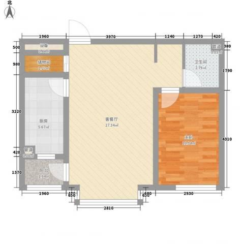 世茂滨江新城1室1厅1卫1厨75.00㎡户型图