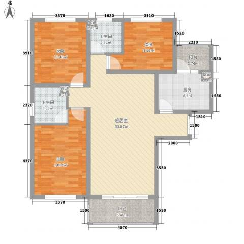 唐山万达广场3室0厅2卫1厨129.00㎡户型图