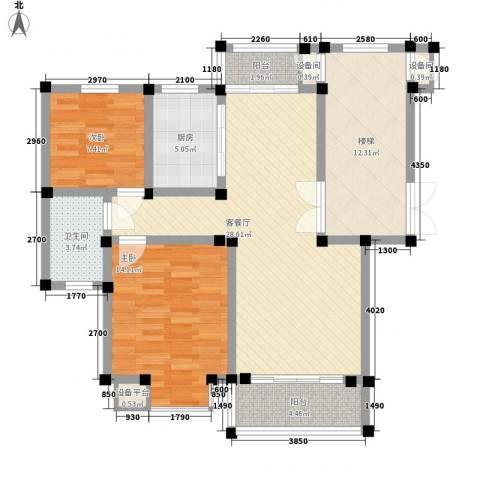 碧龙江畔2室1厅1卫1厨108.00㎡户型图