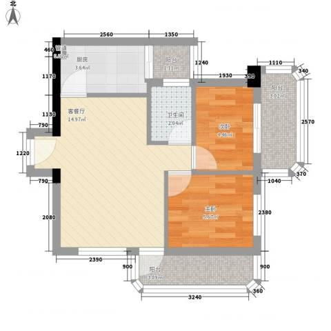 恒华阁2室1厅1卫1厨56.00㎡户型图