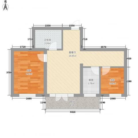 城东新居2室1厅1卫1厨57.00㎡户型图