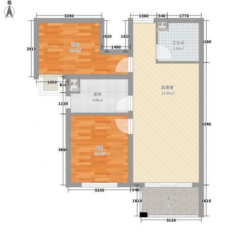 唐山万达广场2室0厅1卫1厨82.00㎡户型图