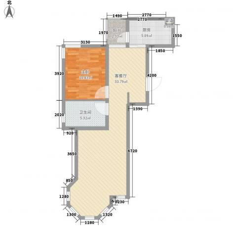 世茂滨江新城1室1厅1卫1厨82.00㎡户型图