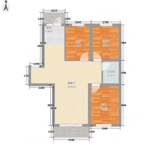 城东新居3室1厅1卫0厨95.00㎡户型图