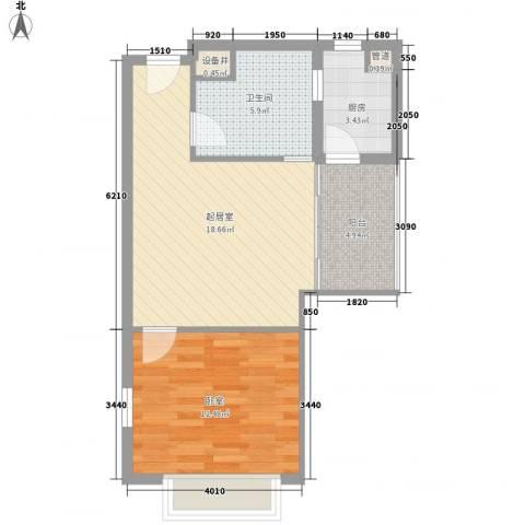 唐山万达广场1卫1厨65.00㎡户型图