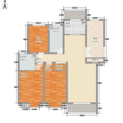 碧龙江畔3室1厅2卫1厨139.00㎡户型图