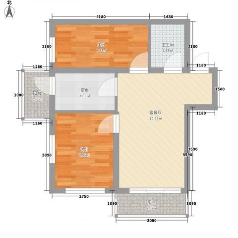 城东新居2室1厅1卫1厨62.00㎡户型图
