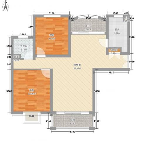 恒盛提香湾别墅2室0厅1卫1厨99.00㎡户型图