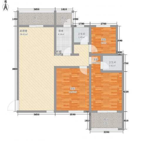 东郡名座3室0厅2卫1厨135.00㎡户型图