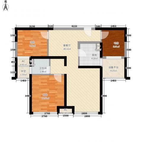 上海滩大宁城3室1厅1卫1厨90.00㎡户型图