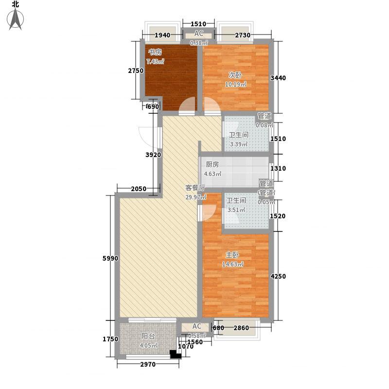 荣盛湖畔郦舍118.83㎡荣盛湖畔郦舍户型图二期1号楼、3号楼户型G3室2厅2卫1厨户型3室2厅2卫1厨
