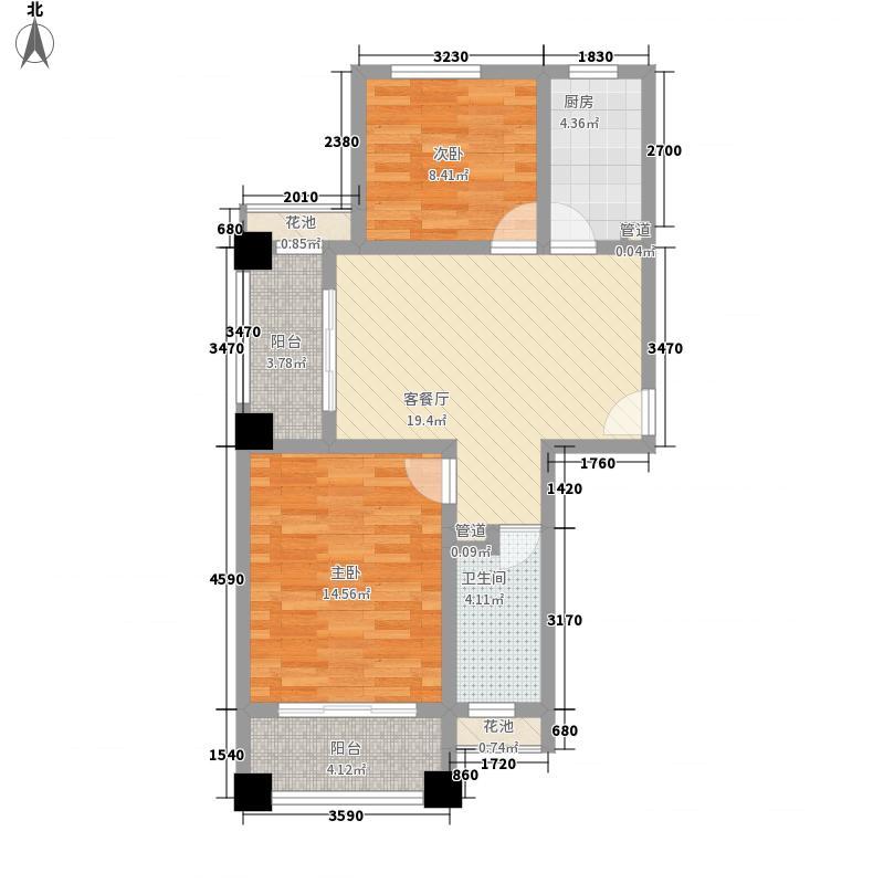 滨江御景89.00㎡A户型阳光水岸户型2室2厅1卫1厨