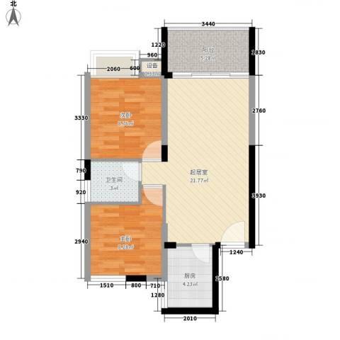 新华苑二期(广场1号)2室0厅1卫1厨74.00㎡户型图