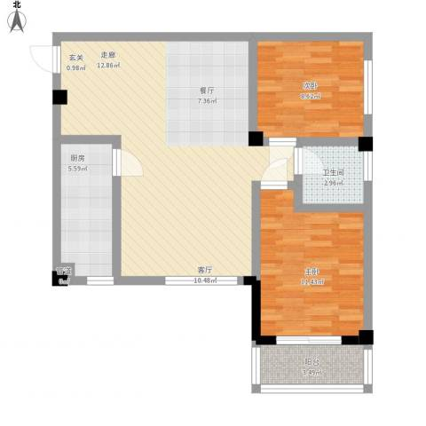 太子花苑2室1厅1卫1厨92.00㎡户型图