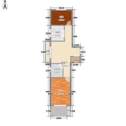 紫晶环球2室1厅1卫1厨79.00㎡户型图
