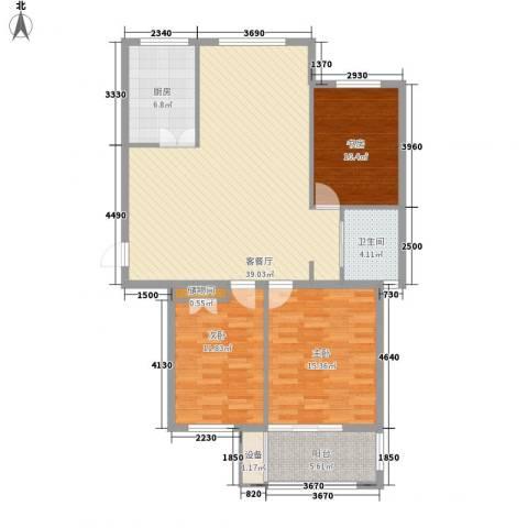 紫晶环球3室1厅1卫1厨132.00㎡户型图