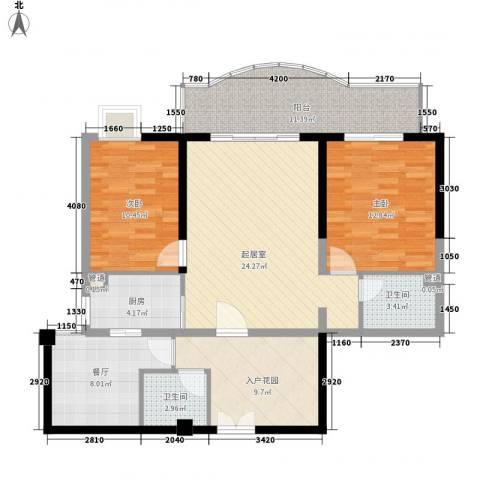禹洲世纪海湾2室1厅2卫1厨87.40㎡户型图