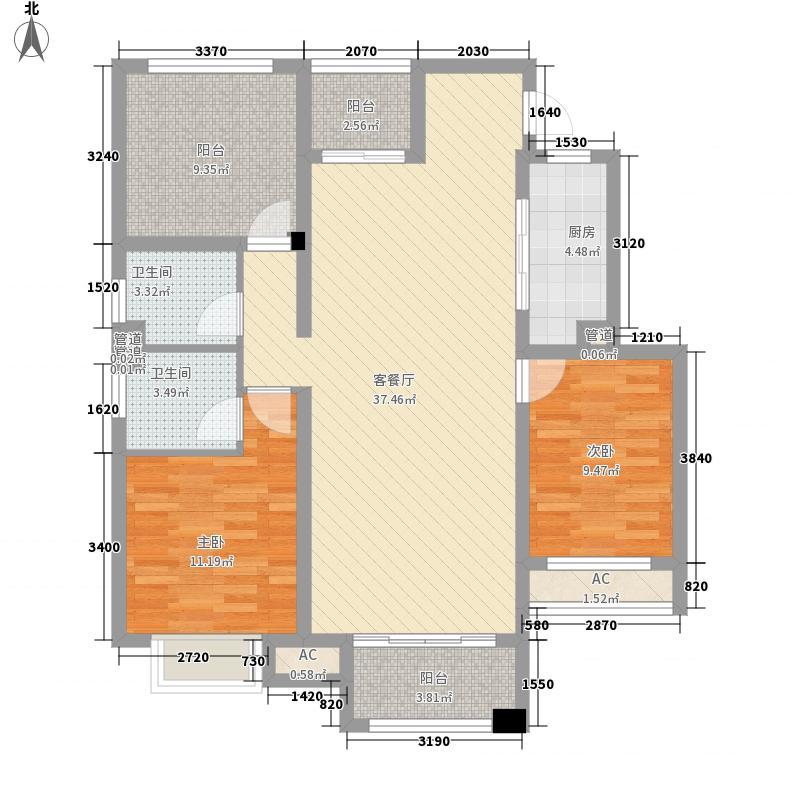 荣盛湖畔郦舍128.77㎡荣盛湖畔郦舍户型图二期1号楼、3号楼户型D2室2厅2卫1厨户型2室2厅2卫1厨