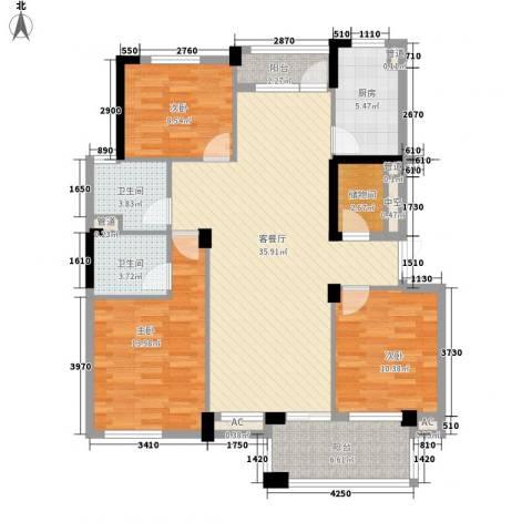 御花园3室1厅2卫1厨134.00㎡户型图