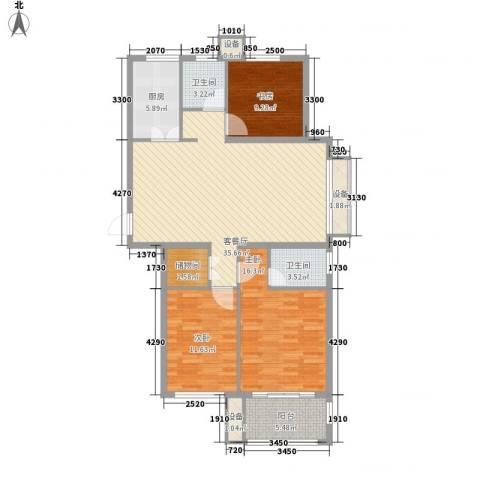 紫晶环球3室1厅2卫1厨137.00㎡户型图