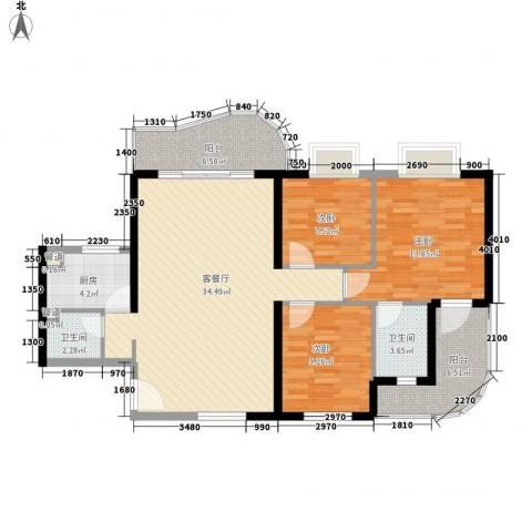 禹洲世纪海湾3室1厅2卫1厨115.00㎡户型图