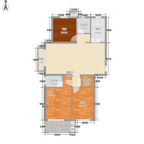 紫晶环球3室1厅2卫1厨135.00㎡户型图
