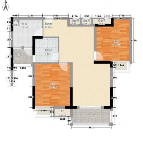 长江花园2室0厅1卫1厨106.00㎡户型图