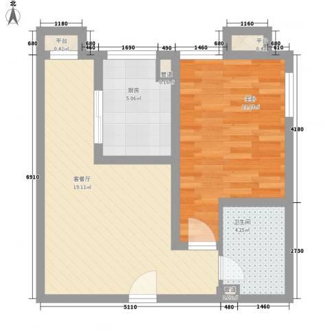 百欣花园1室1厅1卫1厨42.58㎡户型图