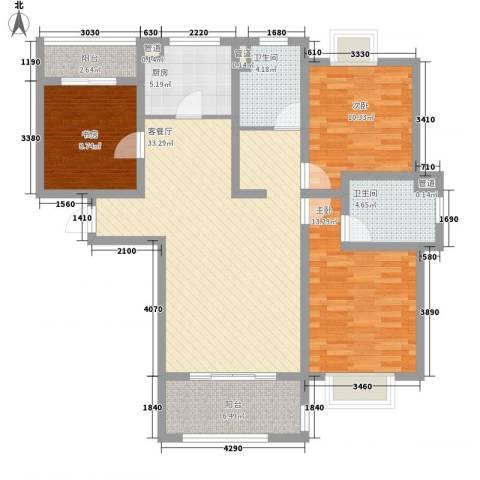 绿地百年宅3室1厅2卫1厨130.00㎡户型图