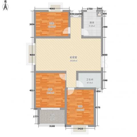 新城府翰苑3室0厅1卫1厨100.00㎡户型图