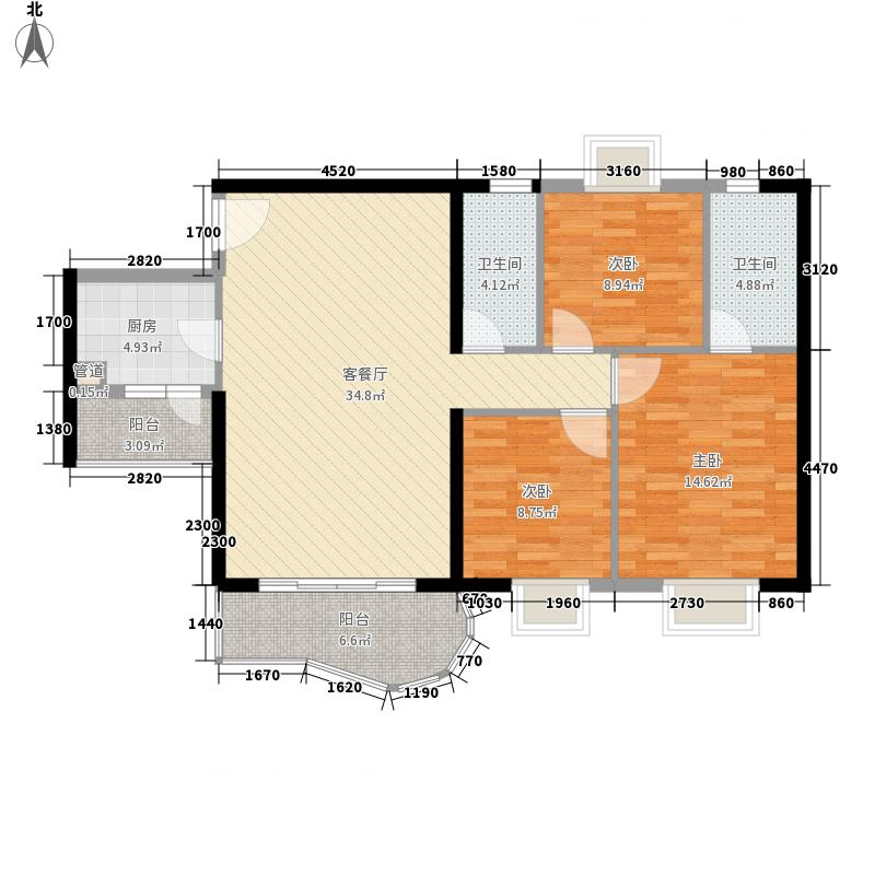 禹洲世纪海湾118.50㎡D型户型3室2厅2卫1厨