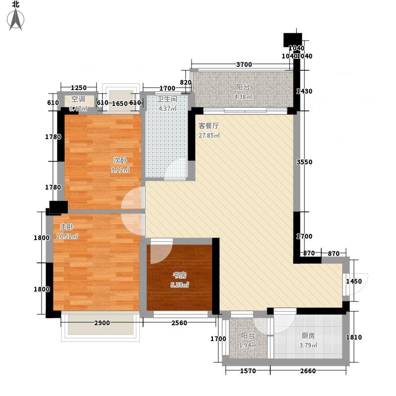 钜隆风度盛荟广场8.42㎡4栋01户型3室2厅1卫1厨