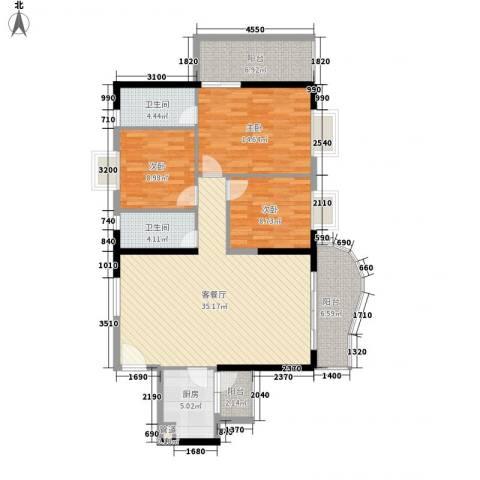 禹洲世纪海湾3室1厅2卫1厨122.00㎡户型图