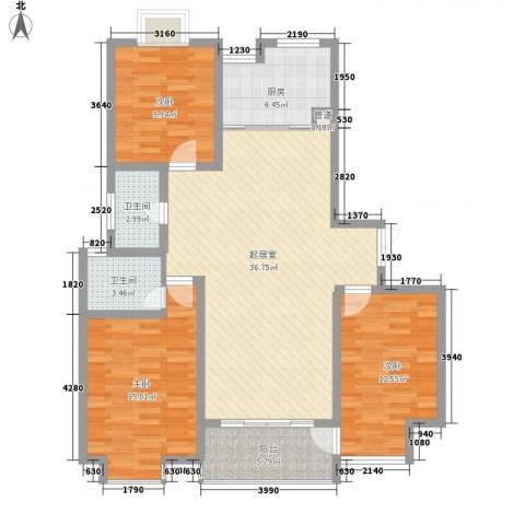 新城府翰苑3室0厅2卫1厨106.00㎡户型图
