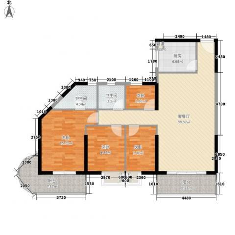 禹洲世纪海湾4室1厅2卫1厨136.00㎡户型图