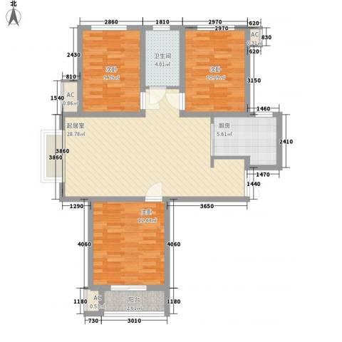 晨垣鼎晟3室0厅1卫1厨110.00㎡户型图