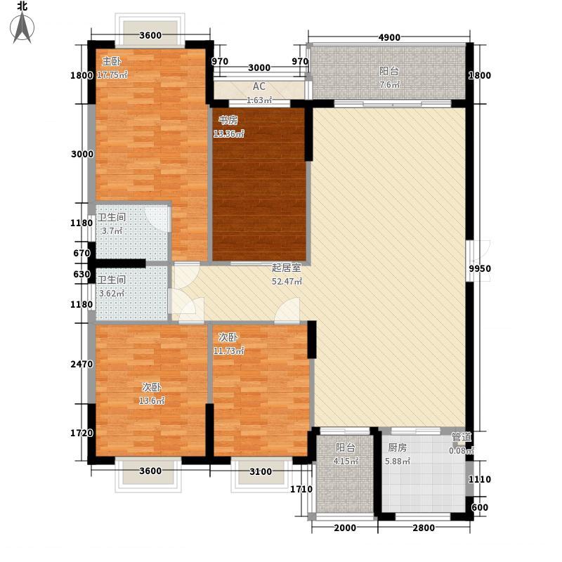 碧湖湾177.13㎡碧湖湾户型图A单元户型4室2厅2卫1厨户型4室2厅2卫1厨