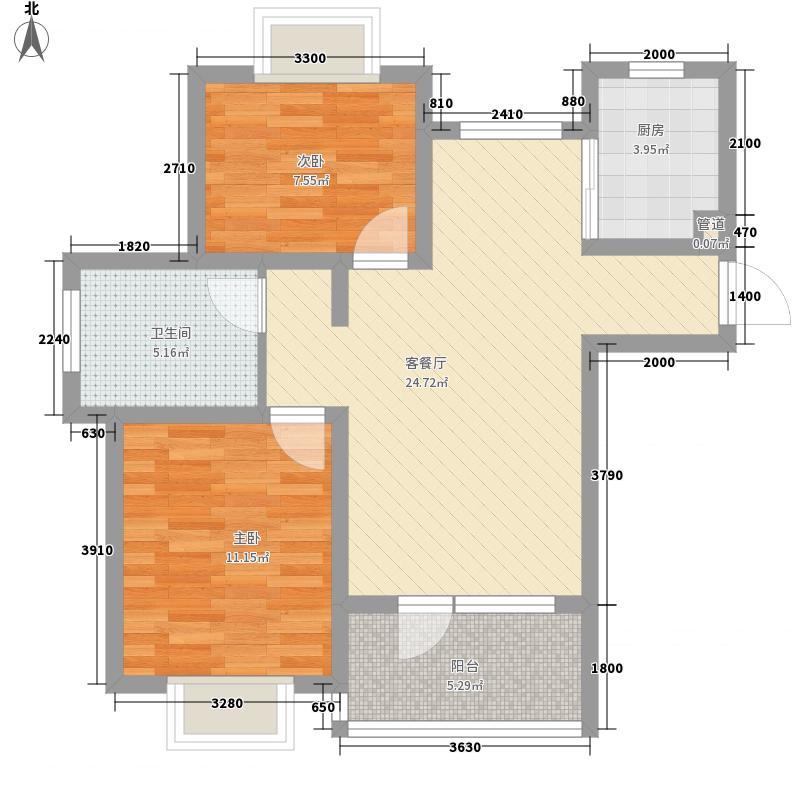 清岛湾76.62㎡32号楼A户型2室2厅1卫1厨