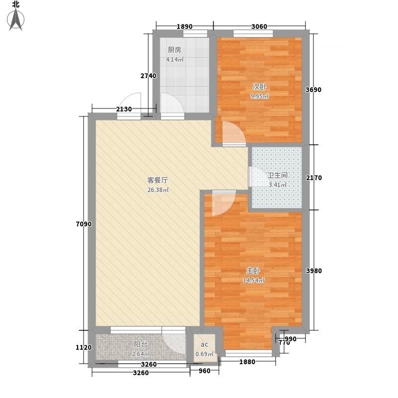港丽花园87.18㎡标准层F户型2室2厅1卫1厨