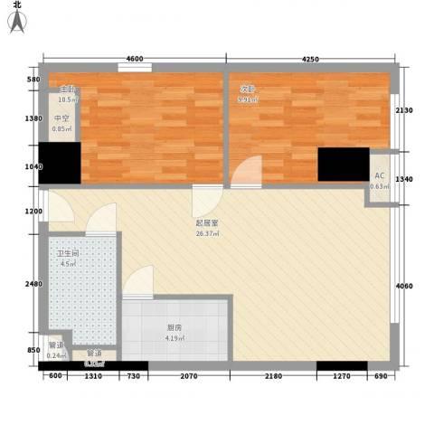 武汉城市广场2室0厅1卫1厨84.00㎡户型图